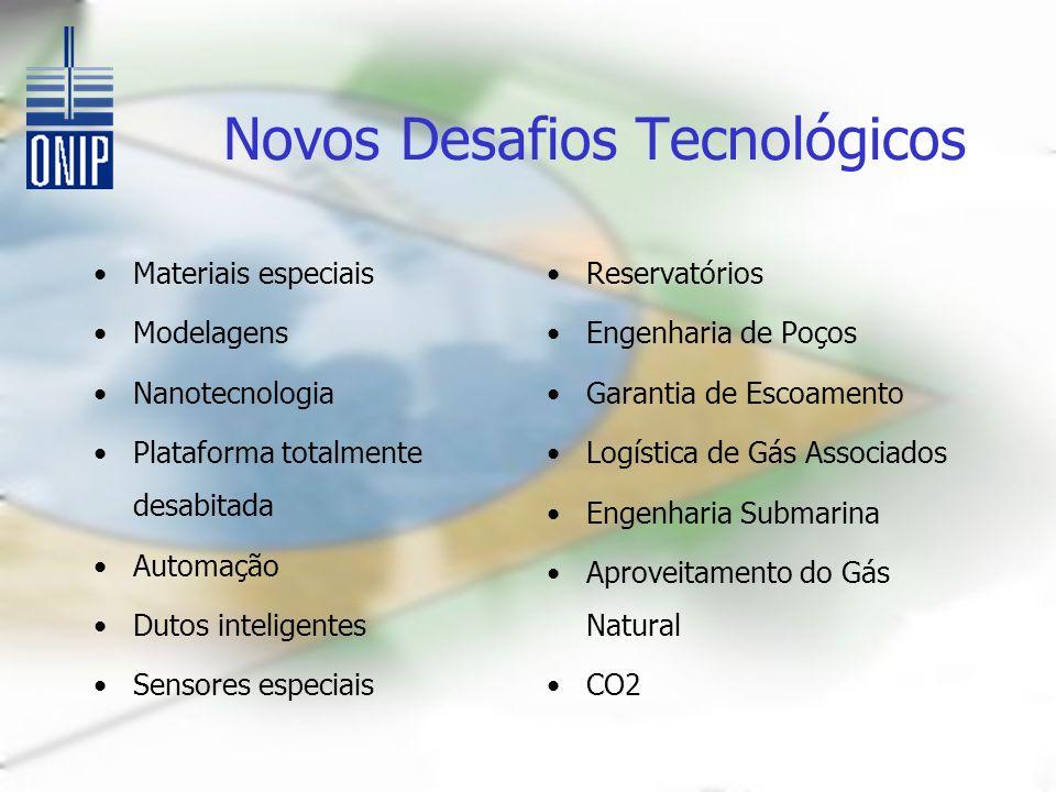 Novos Desafios Tecnológicos Materiais especiais Modelagens Nanotecnologia Plataforma totalmente desabitada Automação Dutos inteligentes Sensores espec