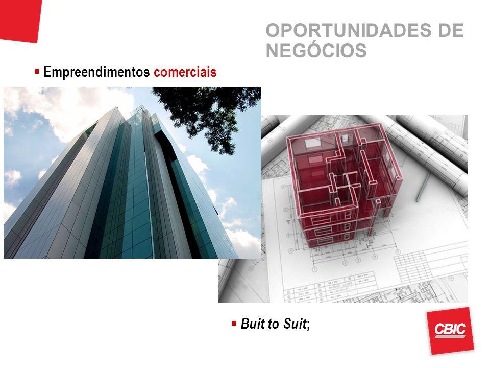 OPORTUNIDADES DE NEGÓCIOS Buit to Suit ; Empreendimentos comerciais