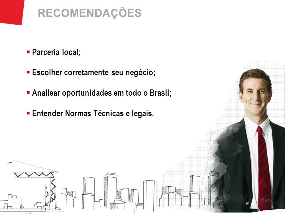 RECOMENDAÇÕES Parceria local; Escolher corretamente seu negócio; Analisar oportunidades em todo o Brasil; Entender Normas Técnicas e legais.