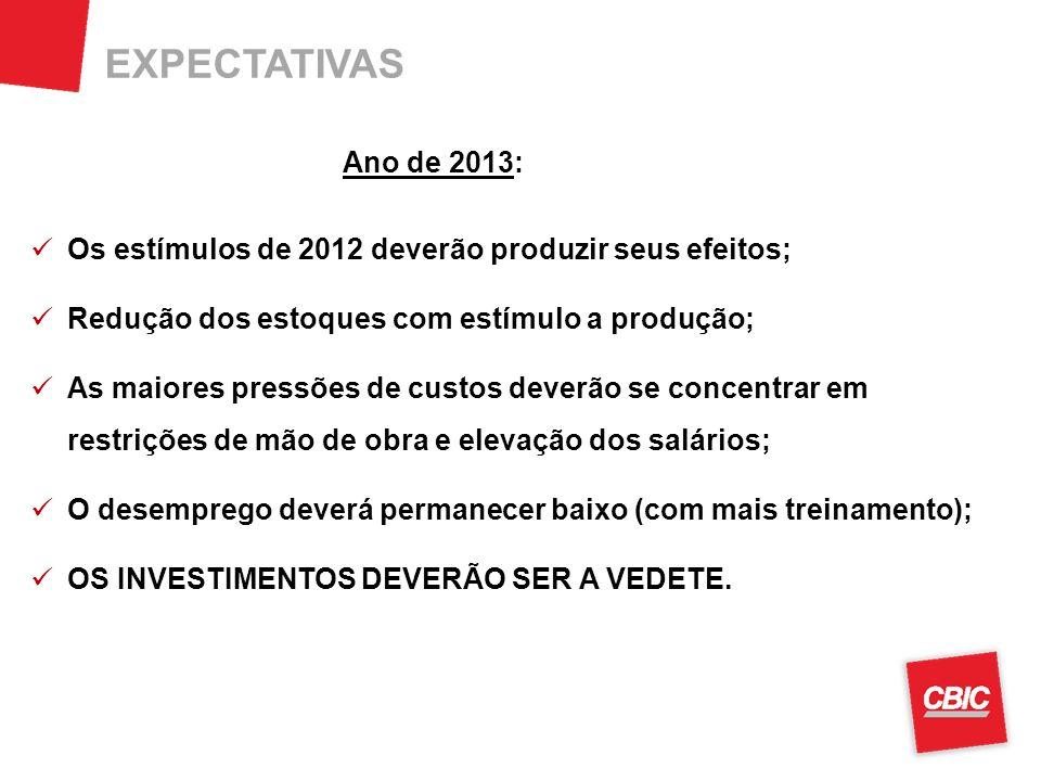 EXPECTATIVAS Ano de 2013: Os estímulos de 2012 deverão produzir seus efeitos; Redução dos estoques com estímulo a produção; As maiores pressões de cus
