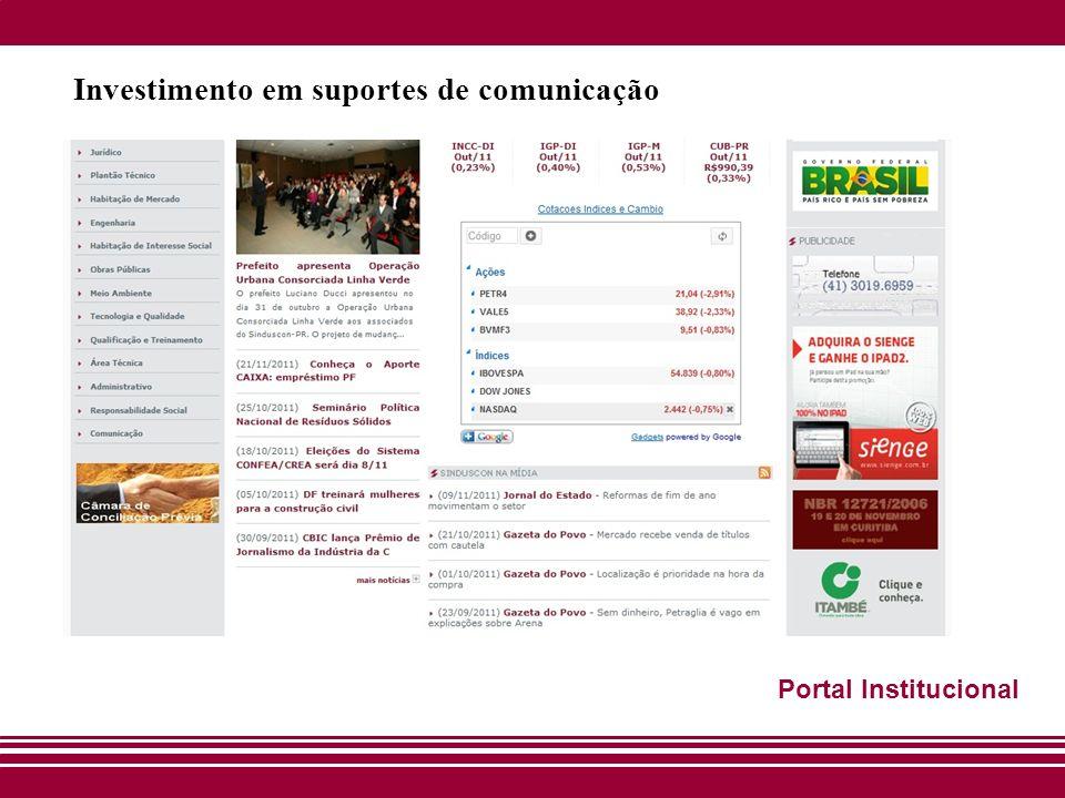 Investimento em suportes de comunicação Portal Institucional