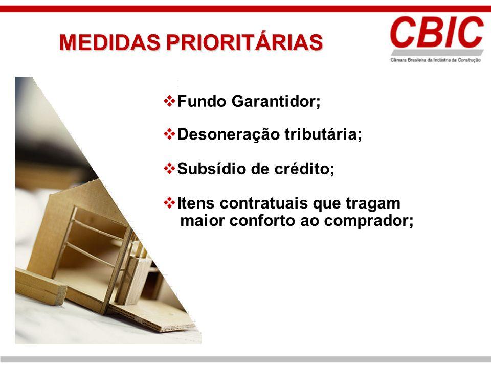 Desoneração tributária; Subsídio de crédito; Itens contratuais que tragam maior conforto ao comprador; MEDIDAS PRIORITÁRIAS Fundo Garantidor;