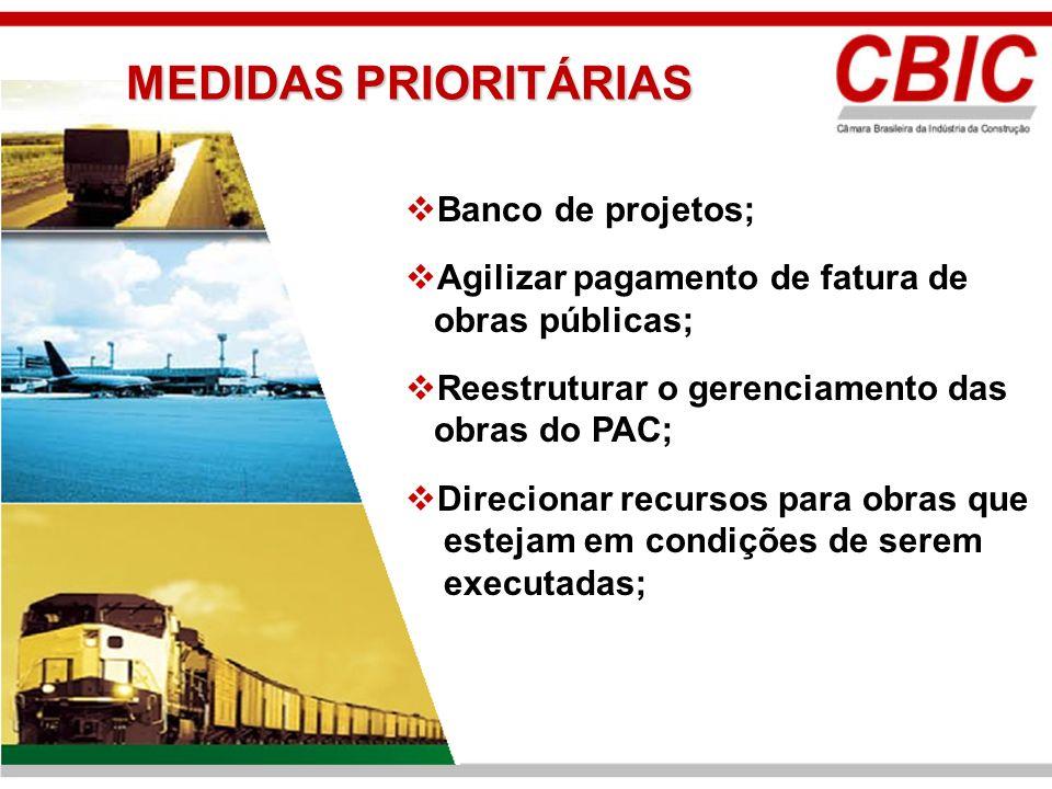 Banco de projetos; Agilizar pagamento de fatura de obras públicas; Reestruturar o gerenciamento das obras do PAC; Direcionar recursos para obras que e