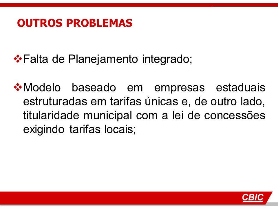 Falta de Planejamento integrado; Modelo baseado em empresas estaduais estruturadas em tarifas únicas e, de outro lado, titularidade municipal com a lei de concessões exigindo tarifas locais; OUTROS PROBLEMAS