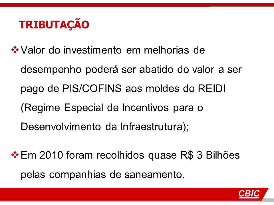 Valor do investimento em melhorias de desempenho poderá ser abatido do valor a ser pago de PIS/COFINS aos moldes do REIDI (Regime Especial de Incentivos para o Desenvolvimento da Infraestrutura); Em 2010 foram recolhidos quase R$ 3 Bilhões pelas companhias de saneamento.