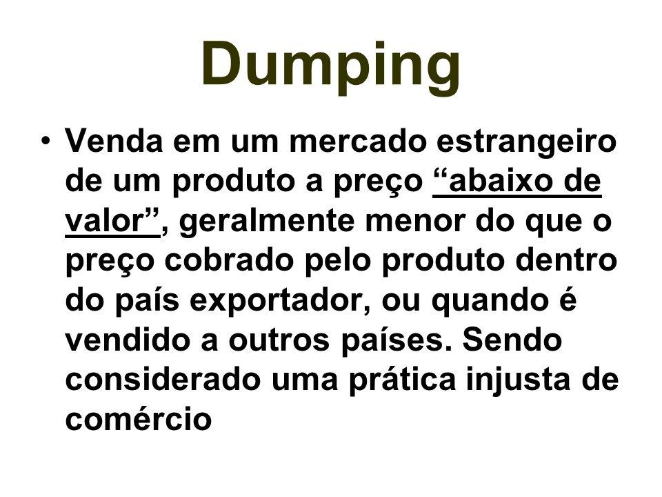 Dumping Venda em um mercado estrangeiro de um produto a preço abaixo de valor, geralmente menor do que o preço cobrado pelo produto dentro do país exp