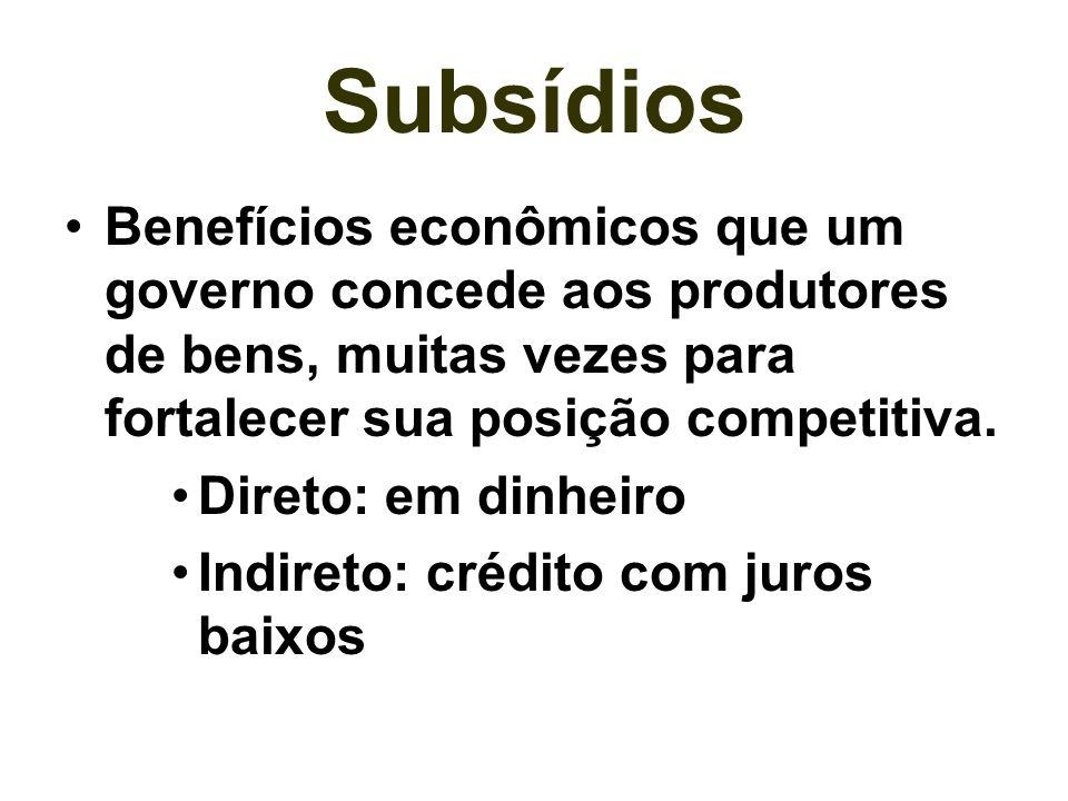 Subsídios Benefícios econômicos que um governo concede aos produtores de bens, muitas vezes para fortalecer sua posição competitiva. Direto: em dinhei