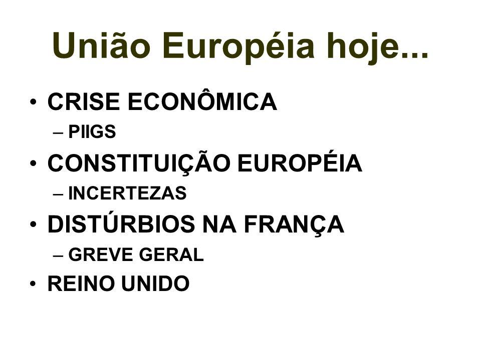 União Européia hoje... CRISE ECONÔMICA –PIIGS CONSTITUIÇÃO EUROPÉIA –INCERTEZAS DISTÚRBIOS NA FRANÇA –GREVE GERAL REINO UNIDO