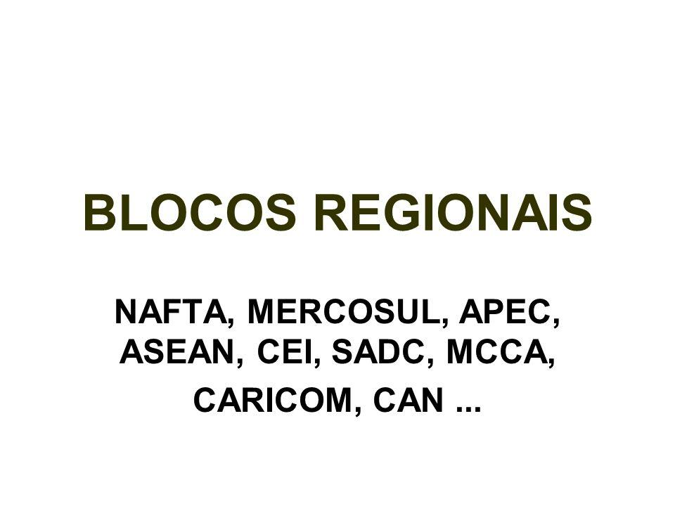 BLOCOS REGIONAIS NAFTA, MERCOSUL, APEC, ASEAN, CEI, SADC, MCCA, CARICOM, CAN...