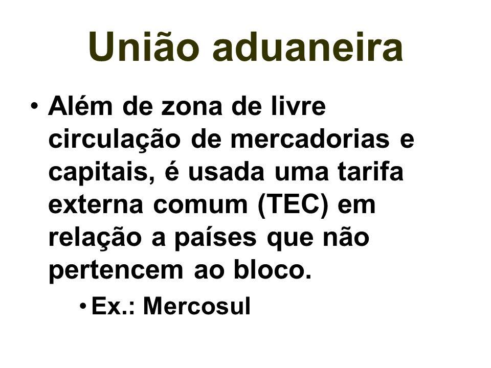 Mercado comum Apresenta características das associações anteriores, porém, acrescenta a livre circulação de pessoas e a padronização das legislações econômica, trabalhista, fiscal e ambiental.