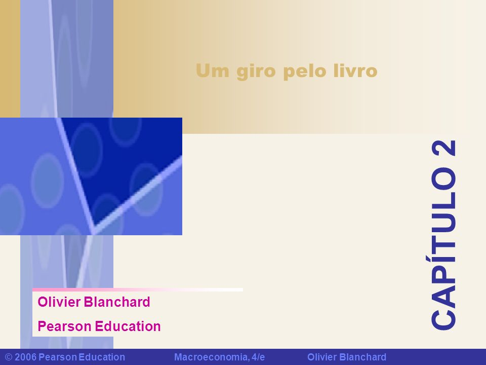 Capítulo 2: Um giro pelo livro © 2006 Pearson Education Macroeconomia, 4/e Olivier Blanchard PIB: Produção e Renda A COMPOSIÇÃO DO PIB AMERICANO PELA ÓTICA DA DEMANDA Consumo 68% Investimento 15% Gastos do Governo 19% Exportações Líquidas -2%
