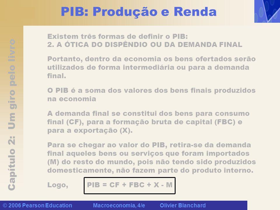 Capítulo 2: Um giro pelo livro © 2006 Pearson Education Macroeconomia, 4/e Olivier Blanchard PIB: Produção e Renda Existem três formas de definir o PIB: 2.