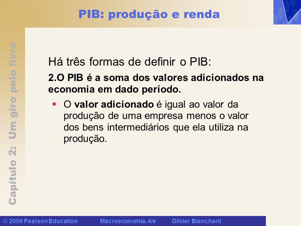 Capítulo 2: Um giro pelo livro © 2006 Pearson Education Macroeconomia, 4/e Olivier Blanchard PIB: produção e renda Há três formas de definir o PIB: 2.O PIB é a soma dos valores adicionados na economia em dado período.
