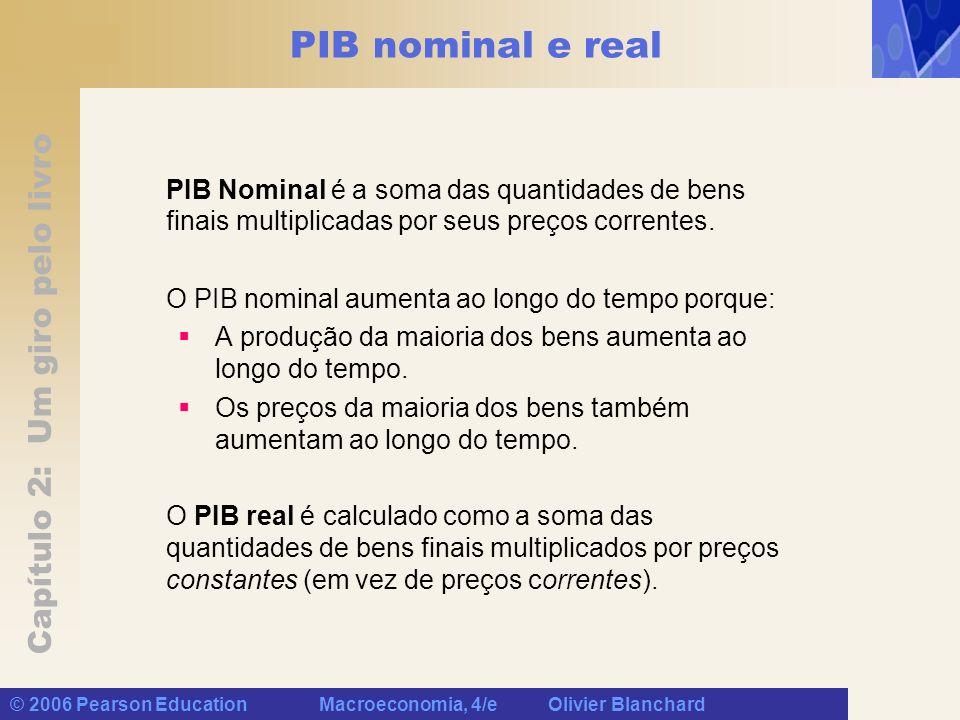 Capítulo 2: Um giro pelo livro © 2006 Pearson Education Macroeconomia, 4/e Olivier Blanchard PIB nominal e real PIB Nominal é a soma das quantidades d