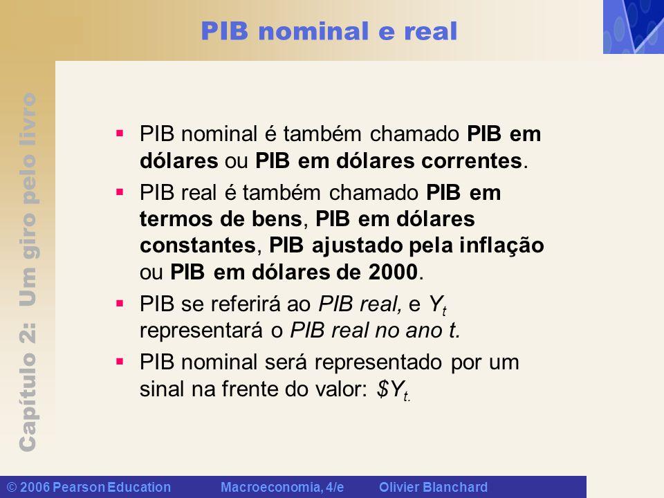 Capítulo 2: Um giro pelo livro © 2006 Pearson Education Macroeconomia, 4/e Olivier Blanchard PIB nominal e real PIB nominal é também chamado PIB em dólares ou PIB em dólares correntes.