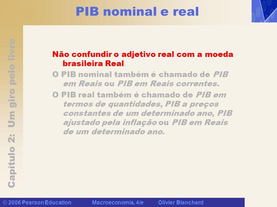 Capítulo 2: Um giro pelo livro © 2006 Pearson Education Macroeconomia, 4/e Olivier Blanchard PIB nominal e real Não confundir o adjetivo real com a moeda brasileira Real O PIB nominal também é chamado de PIB em Reais ou PIB em Reais correntes.