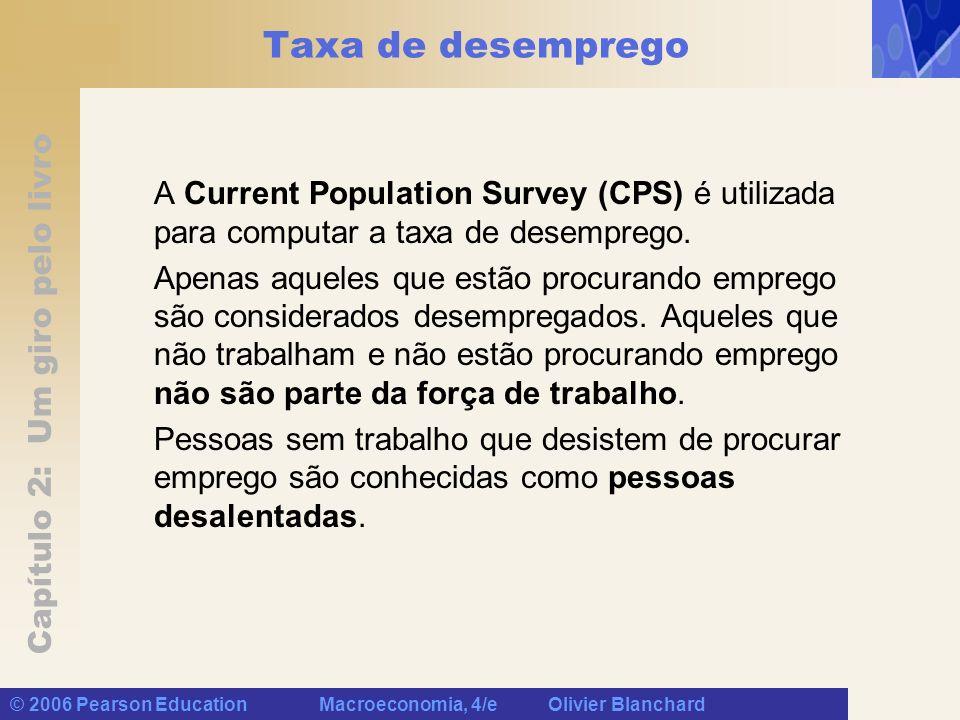 Capítulo 2: Um giro pelo livro © 2006 Pearson Education Macroeconomia, 4/e Olivier Blanchard Taxa de desemprego A Current Population Survey (CPS) é utilizada para computar a taxa de desemprego.