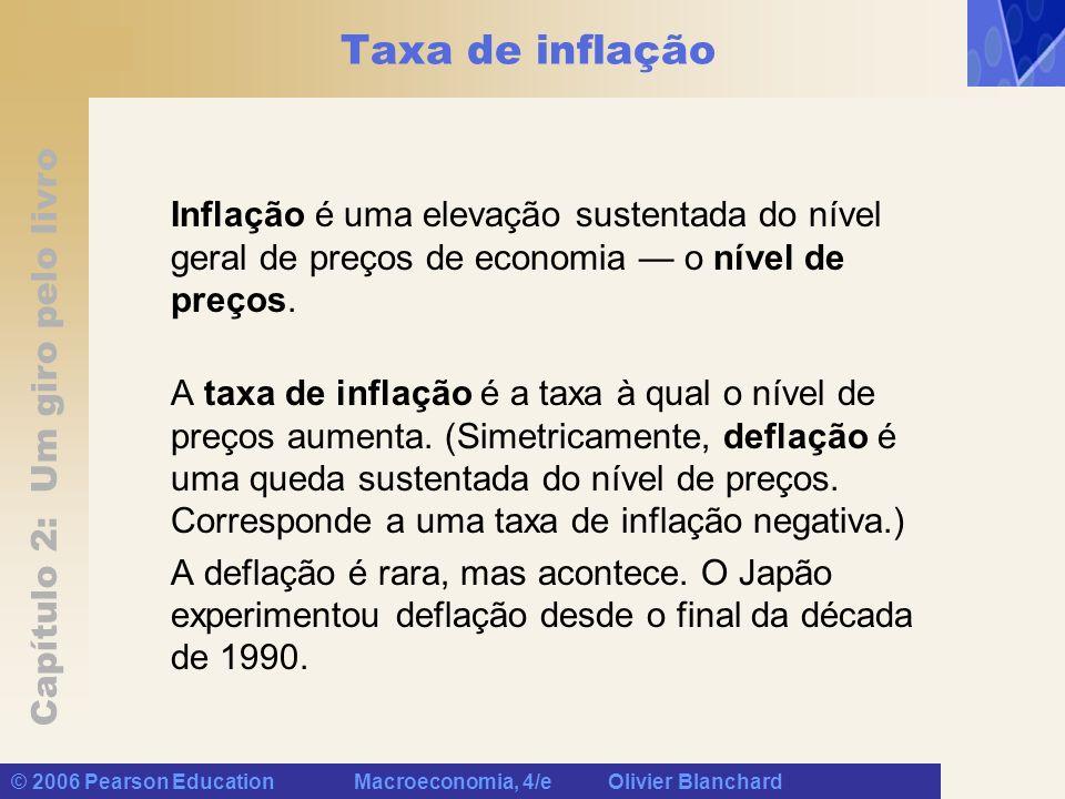 Capítulo 2: Um giro pelo livro © 2006 Pearson Education Macroeconomia, 4/e Olivier Blanchard Taxa de inflação Inflação é uma elevação sustentada do nível geral de preços de economia o nível de preços.
