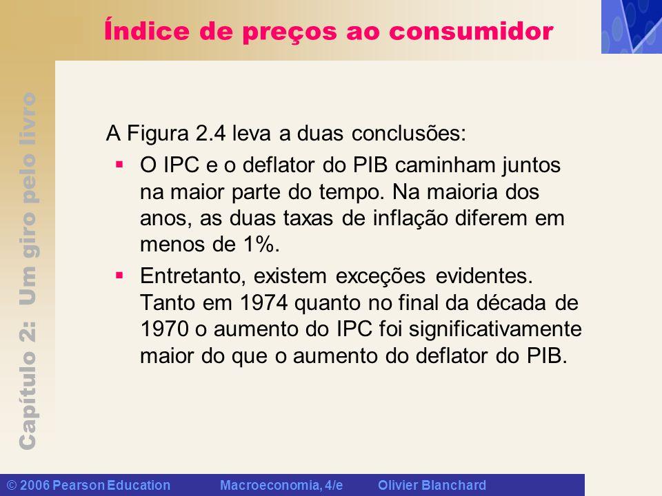 Capítulo 2: Um giro pelo livro © 2006 Pearson Education Macroeconomia, 4/e Olivier Blanchard Índice de preços ao consumidor A Figura 2.4 leva a duas c