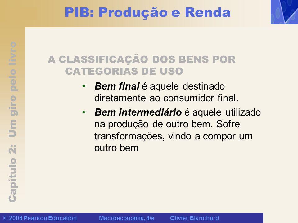 Capítulo 2: Um giro pelo livro © 2006 Pearson Education Macroeconomia, 4/e Olivier Blanchard PIB: Produção e Renda A CLASSIFICAÇÃO DOS BENS POR CATEGORIAS DE USO Bem final é aquele destinado diretamente ao consumidor final.