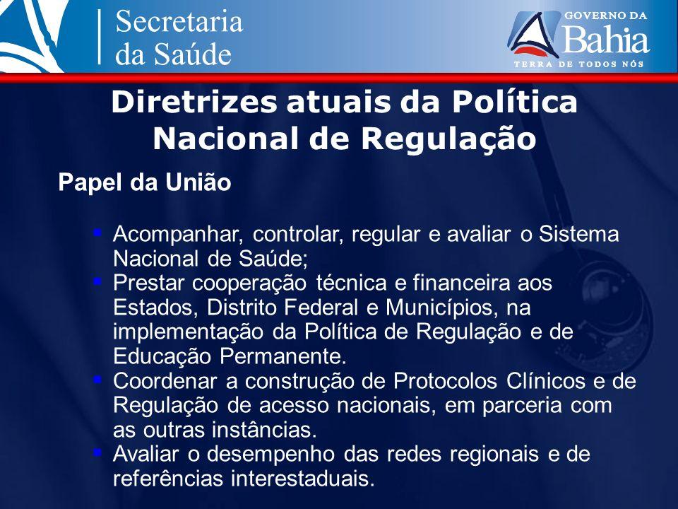 Diretrizes atuais da Política Nacional de Regulação Papel da União Acompanhar, controlar, regular e avaliar o Sistema Nacional de Saúde; Prestar coope