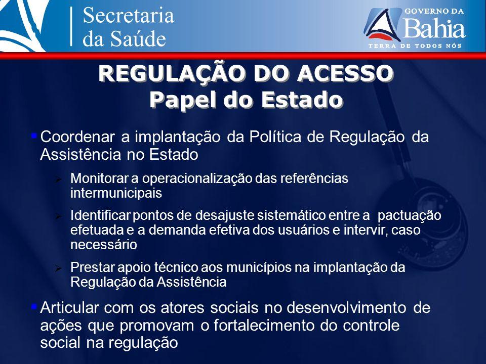 REGULAÇÃO DO ACESSO Papel do Estado Coordenar a implantação da Política de Regulação da Assistência no Estado Monitorar a operacionalização das referê