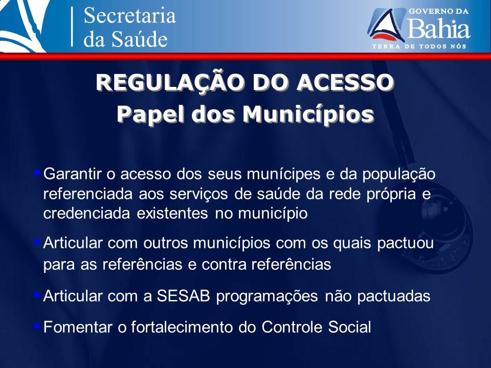 REGULAÇÃO DO ACESSO Papel dos Municípios Garantir o acesso dos seus munícipes e da população referenciada aos serviços de saúde da rede própria e cred