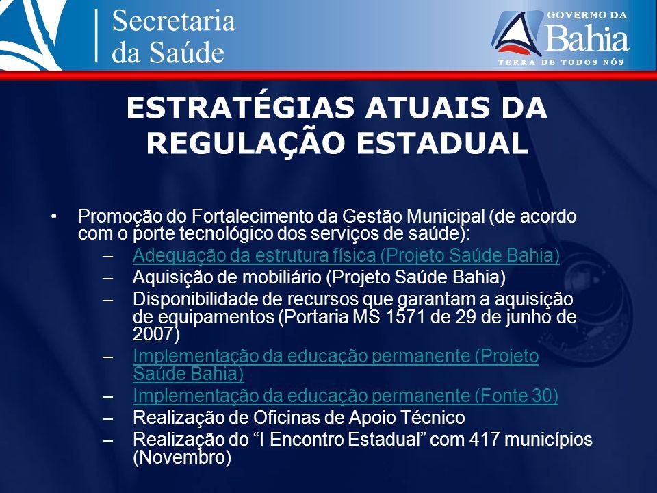 ESTRATÉGIAS ATUAIS DA REGULAÇÃO ESTADUAL Promoção do Fortalecimento da Gestão Municipal (de acordo com o porte tecnológico dos serviços de saúde): –Ad