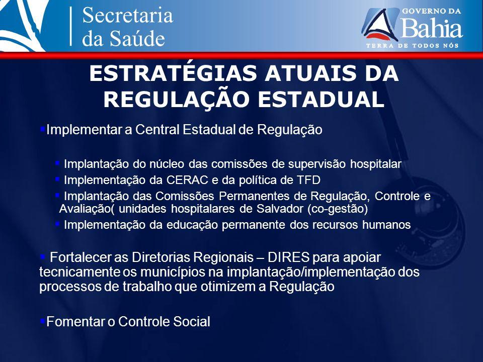 Implementar a Central Estadual de Regulação Implantação do núcleo das comissões de supervisão hospitalar Implementação da CERAC e da política de TFD I
