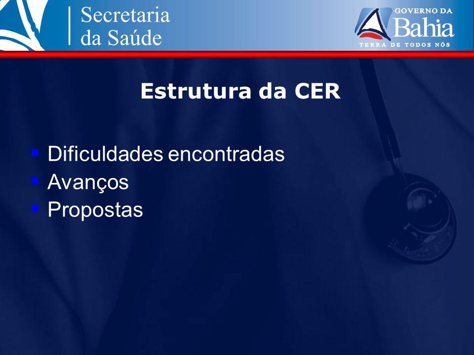 Estrutura da CER Dificuldades encontradas Avanços Propostas