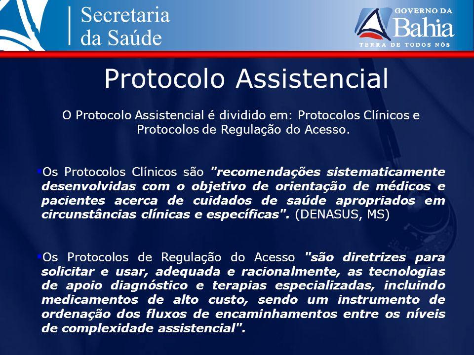 Protocolo Assistencial O Protocolo Assistencial é dividido em: Protocolos Clínicos e Protocolos de Regulação do Acesso. Os Protocolos Clínicos são