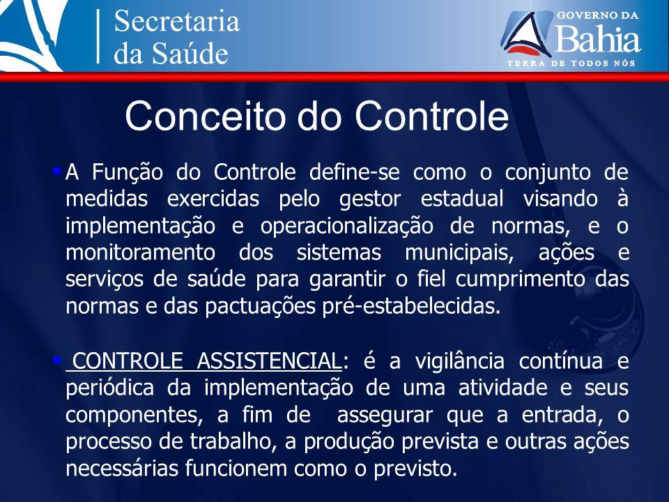 Conceito do Controle A Função do Controle define-se como o conjunto de medidas exercidas pelo gestor estadual visando à implementação e operacionaliza