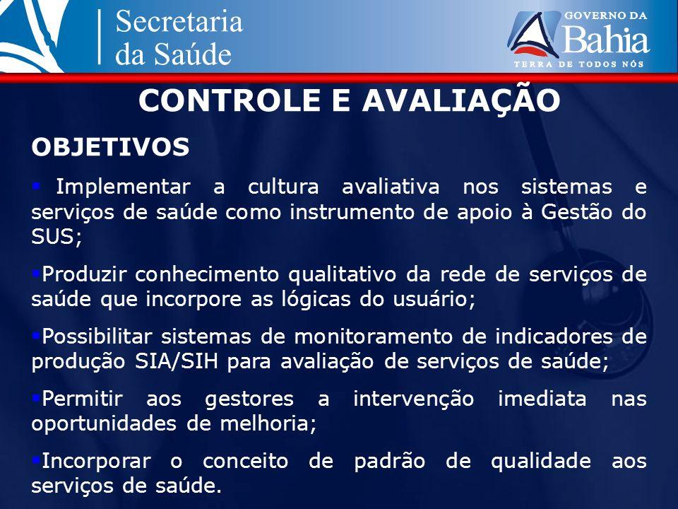 CONTROLE E AVALIAÇÃO OBJETIVOS Implementar a cultura avaliativa nos sistemas e serviços de saúde como instrumento de apoio à Gestão do SUS; Produzir c
