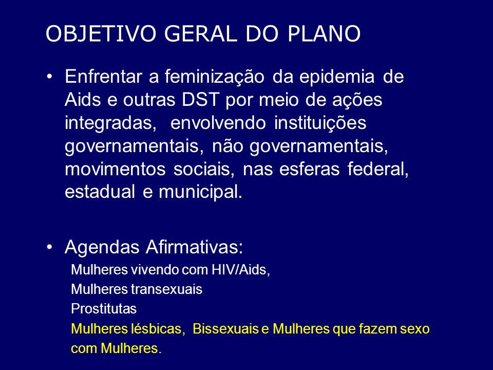 OBJETIVO GERAL DO PLANO Enfrentar a feminização da epidemia de Aids e outras DST por meio de ações integradas, envolvendo instituições governamentais,