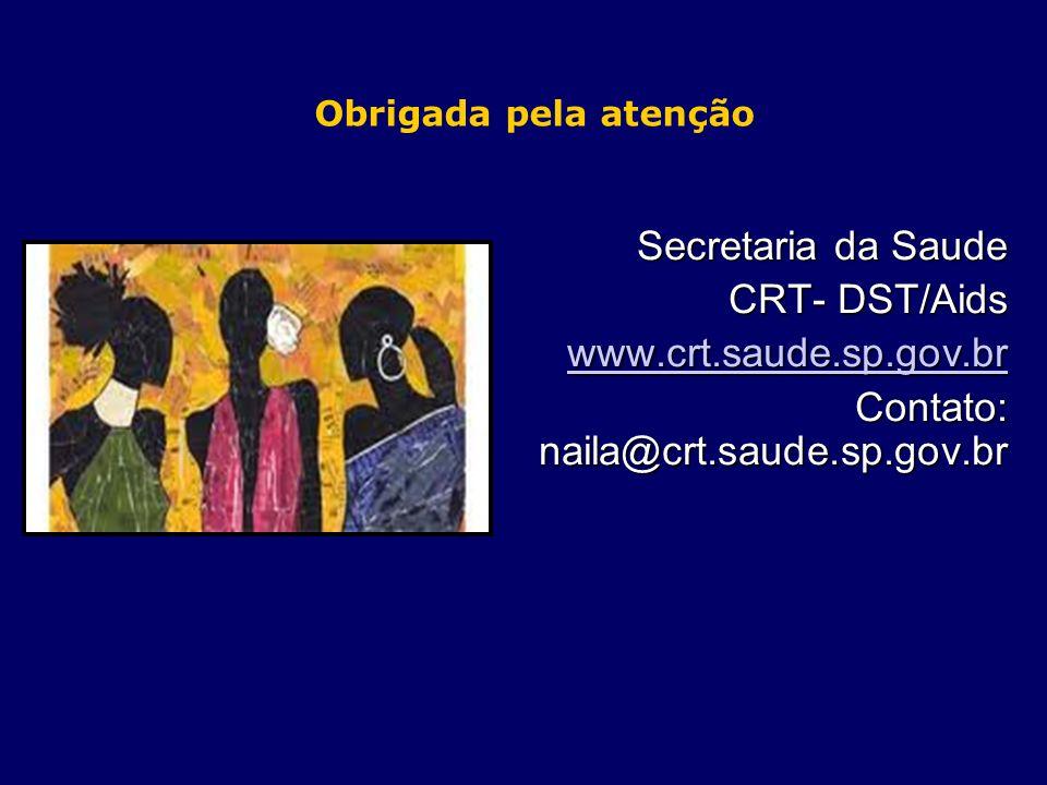 Obrigada pela atenção Secretaria da Saude CRT- DST/Aids www.crt.saude.sp.gov.br Contato: naila@crt.saude.sp.gov.br