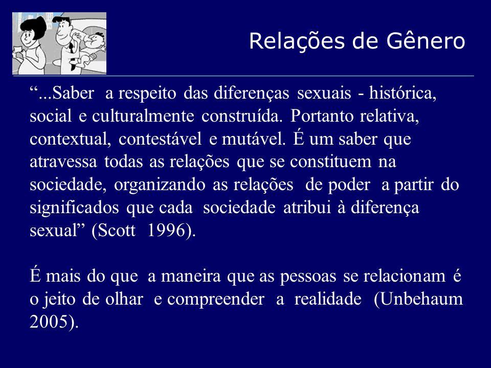 Relações de Gênero...Saber a respeito das diferenças sexuais - histórica, social e culturalmente construída. Portanto relativa, contextual, contestáve