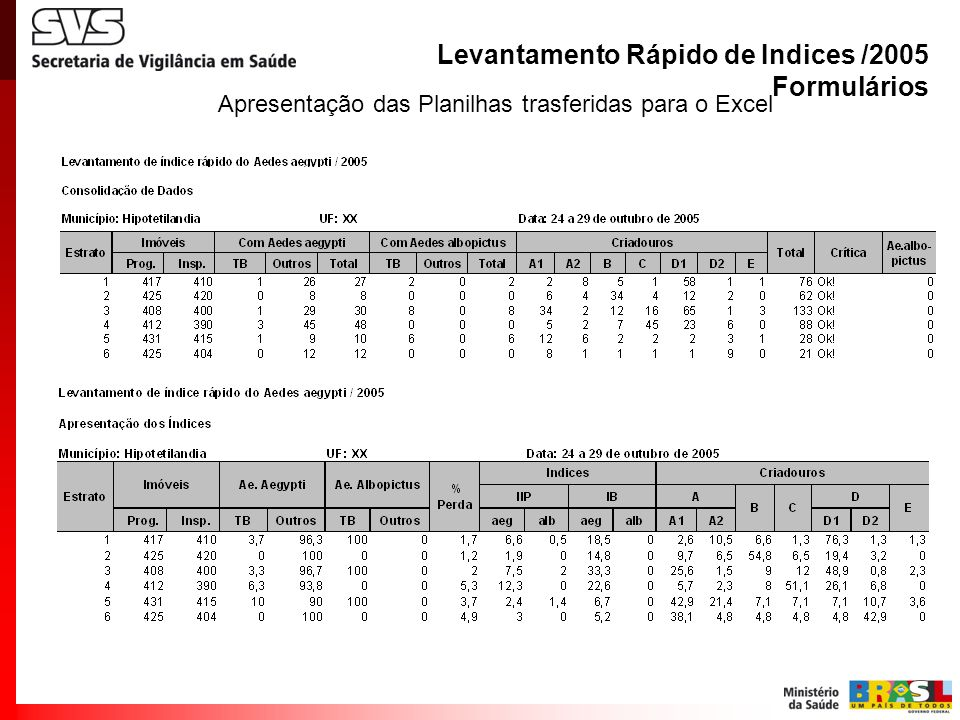 Apresentação das Planilhas trasferidas para o Excel Levantamento Rápido de Indices /2005 Formulários