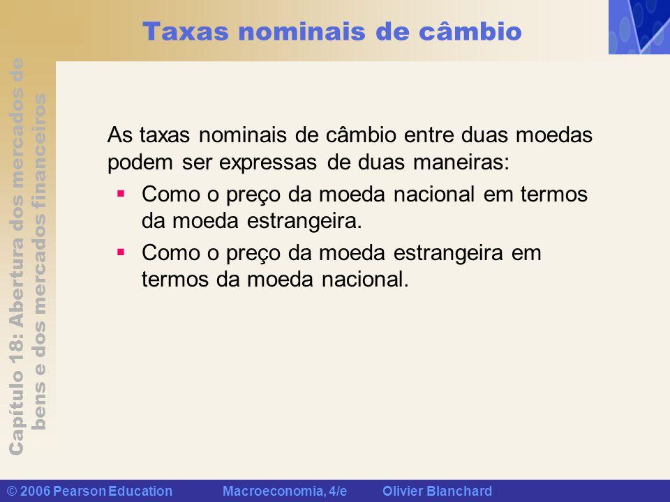 Capítulo 18: Abertura dos mercados de bens e dos mercados financeiros © 2006 Pearson Education Macroeconomia, 4/e Olivier Blanchard Taxas nominais de