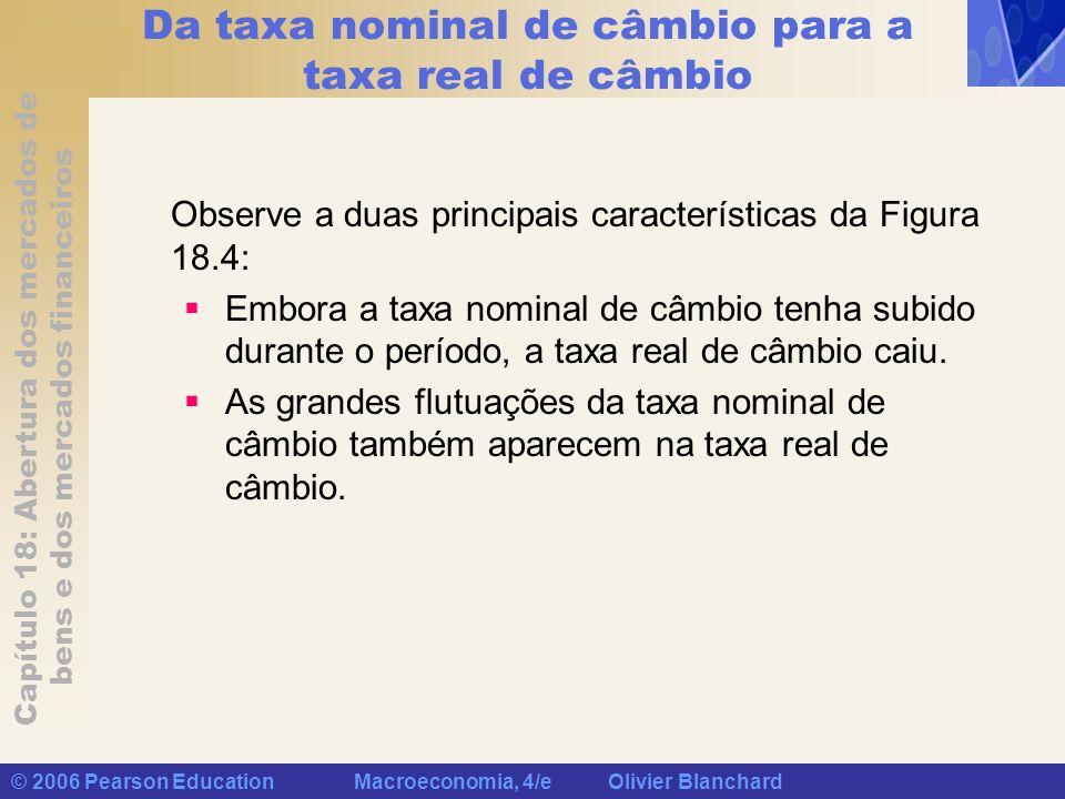 Capítulo 18: Abertura dos mercados de bens e dos mercados financeiros © 2006 Pearson Education Macroeconomia, 4/e Olivier Blanchard Da taxa nominal de