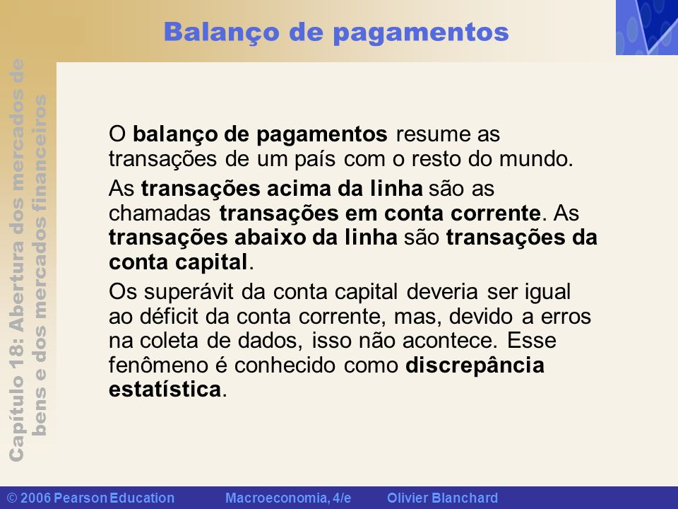 Capítulo 18: Abertura dos mercados de bens e dos mercados financeiros © 2006 Pearson Education Macroeconomia, 4/e Olivier Blanchard Balanço de pagamen