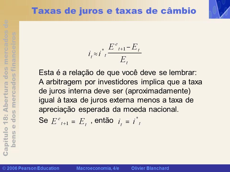 Capítulo 18: Abertura dos mercados de bens e dos mercados financeiros © 2006 Pearson Education Macroeconomia, 4/e Olivier Blanchard Taxas de juros e t