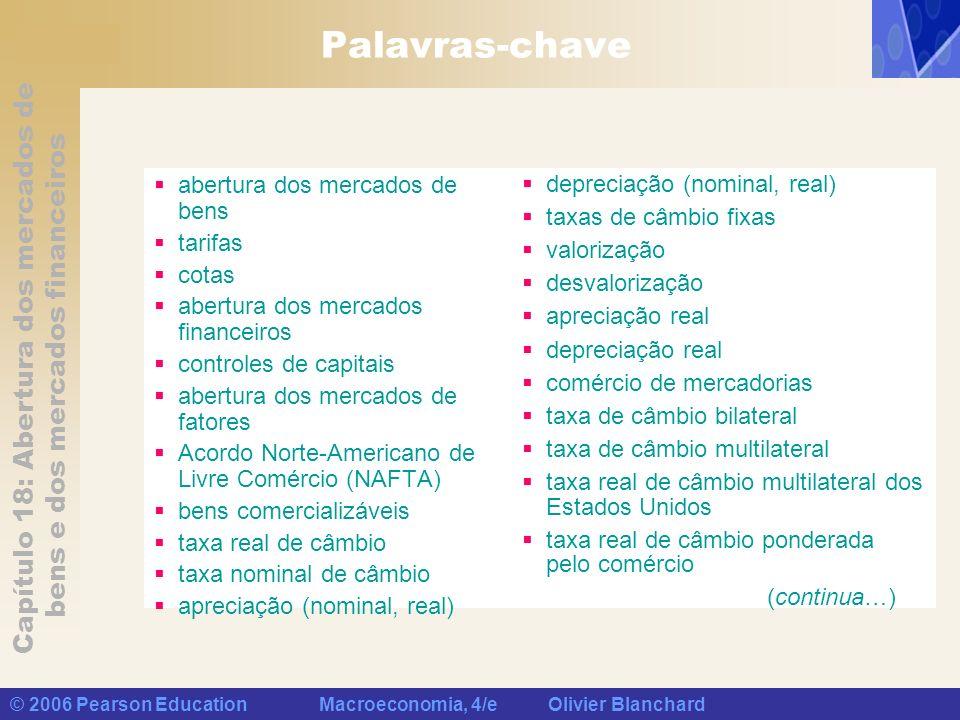 Capítulo 18: Abertura dos mercados de bens e dos mercados financeiros © 2006 Pearson Education Macroeconomia, 4/e Olivier Blanchard Palavras-chave abe