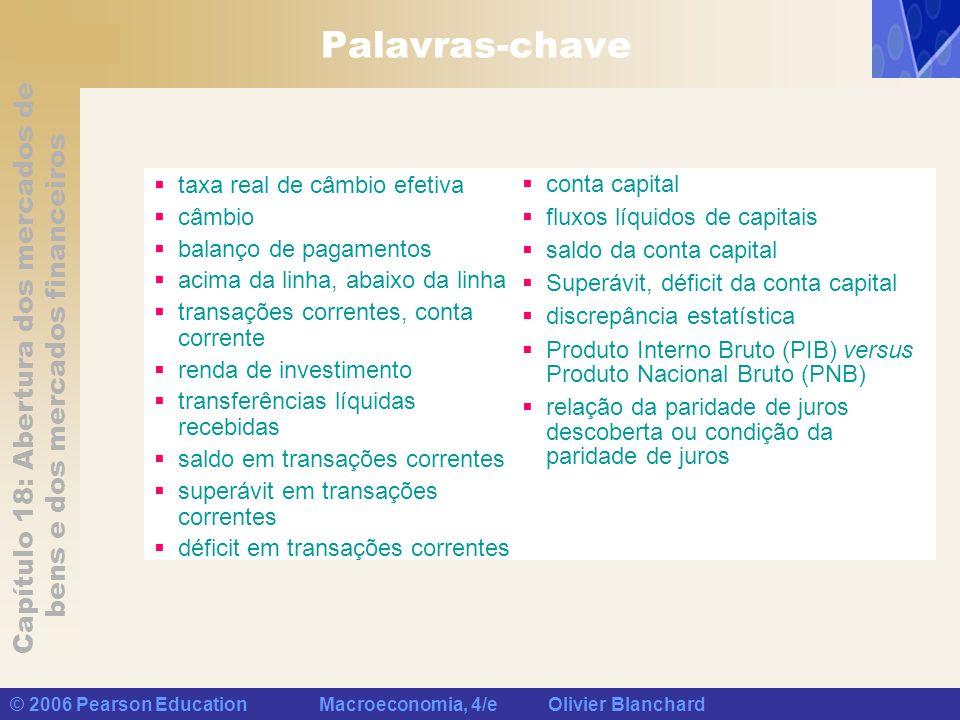 Capítulo 18: Abertura dos mercados de bens e dos mercados financeiros © 2006 Pearson Education Macroeconomia, 4/e Olivier Blanchard Palavras-chave tax