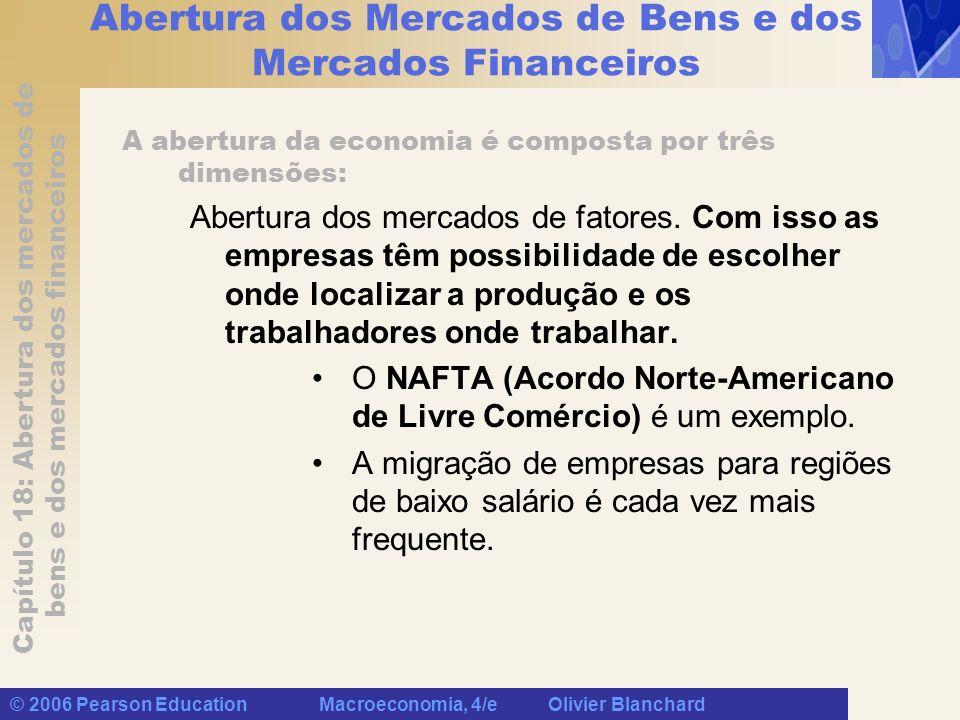 Capítulo 18: Abertura dos mercados de bens e dos mercados financeiros © 2006 Pearson Education Macroeconomia, 4/e Olivier Blanchard Abertura dos Merca