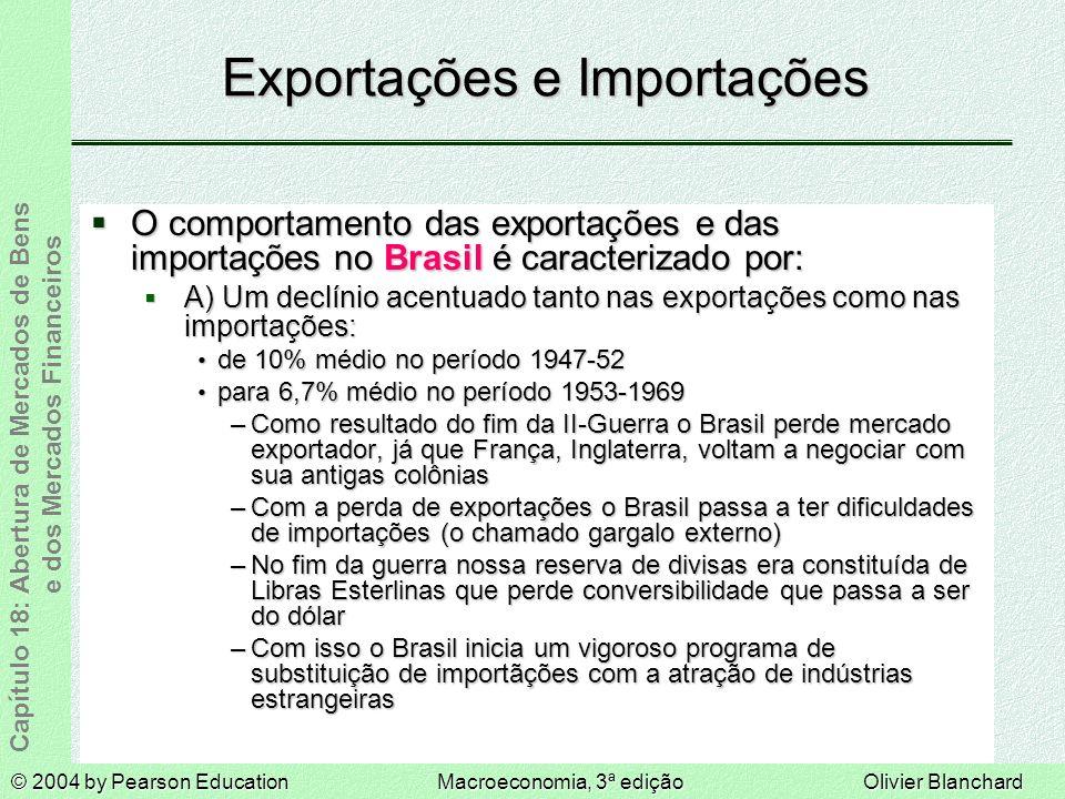 © 2004 by Pearson EducationMacroeconomia, 3ª ediçãoOlivier Blanchard Capítulo 18: Abertura de Mercados de Bens e dos Mercados Financeiros Exportações e Importações O comportamento das exportações e das importações no Brasil é caracterizado por: O comportamento das exportações e das importações no Brasil é caracterizado por: A) Um declínio acentuado tanto nas exportações como nas importações: A) Um declínio acentuado tanto nas exportações como nas importações: de 10% médio no período 1947-52 de 10% médio no período 1947-52 para 6,7% médio no período 1953-1969 para 6,7% médio no período 1953-1969 –Como resultado do fim da II-Guerra o Brasil perde mercado exportador, já que França, Inglaterra, voltam a negociar com sua antigas colônias –Com a perda de exportações o Brasil passa a ter dificuldades de importações (o chamado gargalo externo) –No fim da guerra nossa reserva de divisas era constituída de Libras Esterlinas que perde conversibilidade que passa a ser do dólar –Com isso o Brasil inicia um vigoroso programa de substituição de importãções com a atração de indústrias estrangeiras