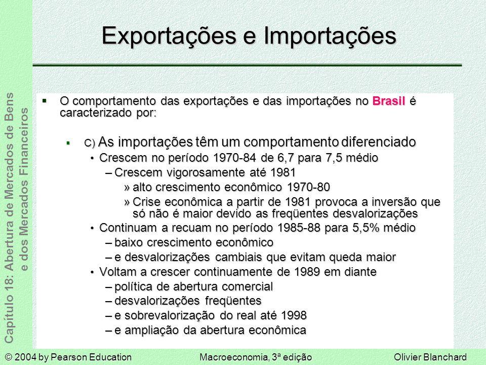© 2004 by Pearson EducationMacroeconomia, 3ª ediçãoOlivier Blanchard Capítulo 18: Abertura de Mercados de Bens e dos Mercados Financeiros Exportações e Importações O comportamento das exportações e das importações no Brasil é caracterizado por: O comportamento das exportações e das importações no Brasil é caracterizado por: C) As importações têm um comportamento diferenciado C) As importações têm um comportamento diferenciado Crescem no período 1970-84 de 6,7 para 7,5 médio Crescem no período 1970-84 de 6,7 para 7,5 médio –Crescem vigorosamente até 1981 »alto crescimento econômico 1970-80 »Crise econômica a partir de 1981 provoca a inversão que só não é maior devido as freqüentes desvalorizações Continuam a recuam no período 1985-88 para 5,5% médio Continuam a recuam no período 1985-88 para 5,5% médio –baixo crescimento econômico –e desvalorizações cambiais que evitam queda maior Voltam a crescer continuamente de 1989 em diante Voltam a crescer continuamente de 1989 em diante –política de abertura comercial –desvalorizações freqüentes –e sobrevalorização do real até 1998 –e ampliação da abertura econômica