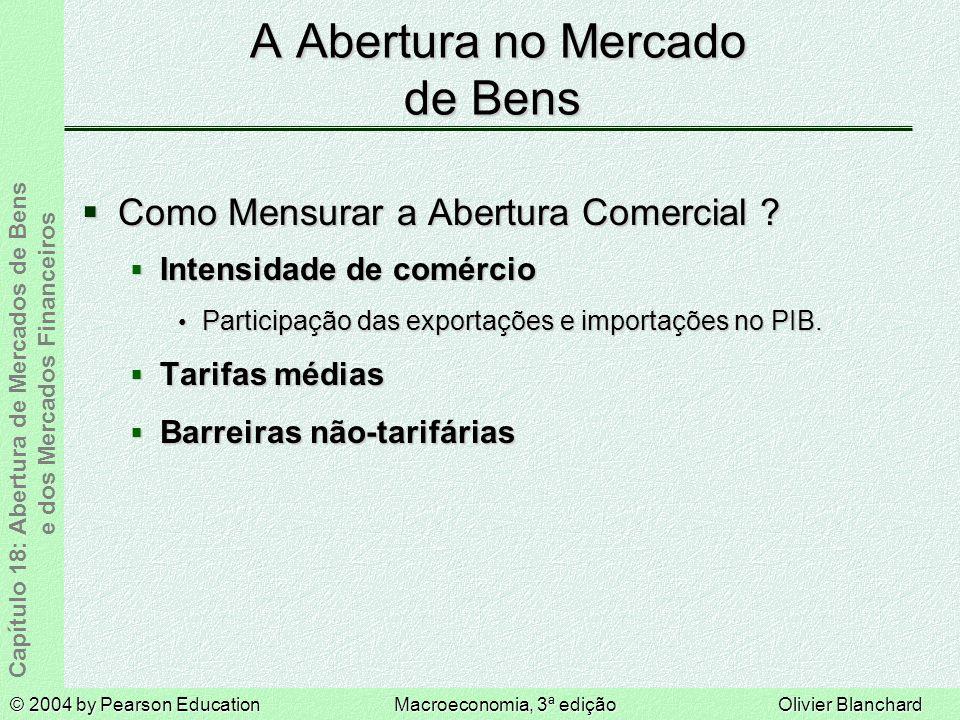 © 2004 by Pearson EducationMacroeconomia, 3ª ediçãoOlivier Blanchard Capítulo 18: Abertura de Mercados de Bens e dos Mercados Financeiros Como Mensurar a Abertura Comercial .