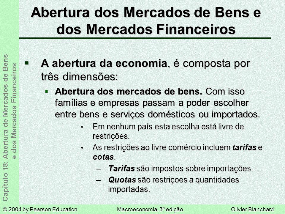 © 2004 by Pearson EducationMacroeconomia, 3ª ediçãoOlivier Blanchard Capítulo 18: Abertura de Mercados de Bens e dos Mercados Financeiros Abertura dos Mercados de Bens e dos Mercados Financeiros A abertura da economia, é composta por três dimensões: A abertura da economia, é composta por três dimensões: Abertura dos mercados de bens.