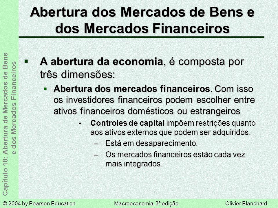 © 2004 by Pearson EducationMacroeconomia, 3ª ediçãoOlivier Blanchard Capítulo 18: Abertura de Mercados de Bens e dos Mercados Financeiros Abertura dos Mercados de Bens e dos Mercados Financeiros A abertura da economia, é composta por três dimensões: A abertura da economia, é composta por três dimensões: Abertura dos mercados financeiros.