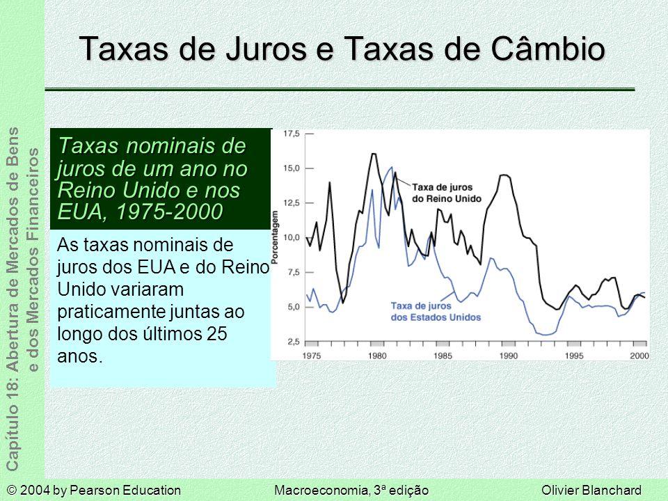 © 2004 by Pearson EducationMacroeconomia, 3ª ediçãoOlivier Blanchard Capítulo 18: Abertura de Mercados de Bens e dos Mercados Financeiros Taxas de Juros e Taxas de Câmbio Taxas nominais de juros de um ano no Reino Unido e nos EUA, 1975-2000 As taxas nominais de juros dos EUA e do Reino Unido variaram praticamente juntas ao longo dos últimos 25 anos.